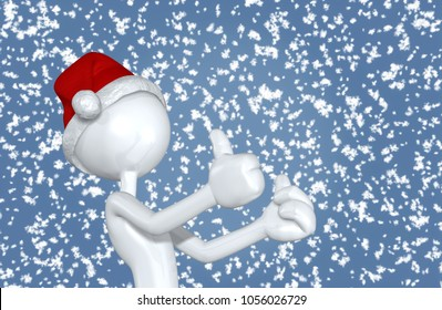 The Original 3D Character Illustration Wearing A Santa Hat