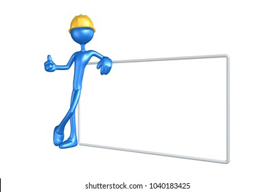The Original 3D Construction Worker Character Illustration With A Blank Sign