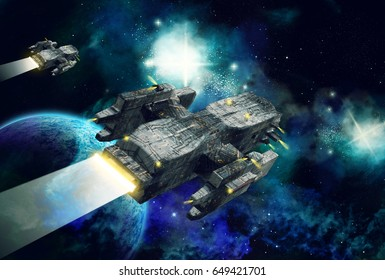 Original 3D illustration. Space fantasy scene with 2 spaceships. Alien planet with clouds, stars and nebula.