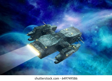 Original 3D illustration. Space fantasy scene with a spaceship. Alien planet with clouds, stars and nebula.