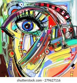 Original Abstract Digital Painting Artwork Of Doodle Bird, Colored Poster  Print Pattern, Raster Version