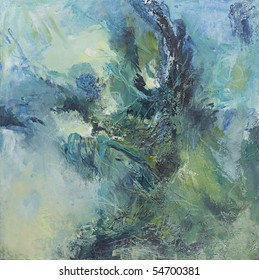 Original abstract painting in cool blues and greens with plenty of texture and movement. Makes good background. Painted by the photographer.