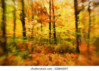 An original abstract photograph of colorful trees in autumn transformed into a painting
