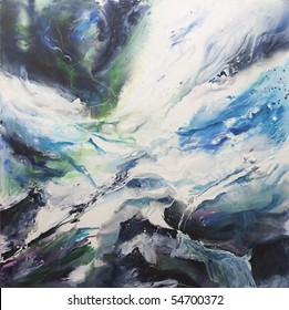Original acrylic abstract painting in blues and white representing movement of waves. Painted by the photographer.
