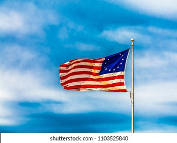 Original American flag showing stars for the thirteen colonies