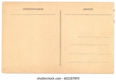 Original Antique Back Side POSTCARD with space for Correspondence and Address in French Language (Correspondance - Adresse). Right Rough Edges