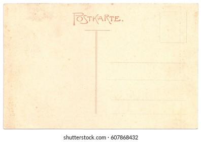 Original Antique Back Side POSTCARD in German Language (Postkarte)