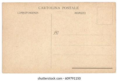 Original Antique Back Side POSTCARD with space for Correspondence and Address  in Italian Language (Cartolina Postale - Corrispondenza - Indirizzo)