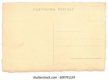 Original Antique Back Side POSTCARD in Italian Language (Cartolina Postale) with rough edges