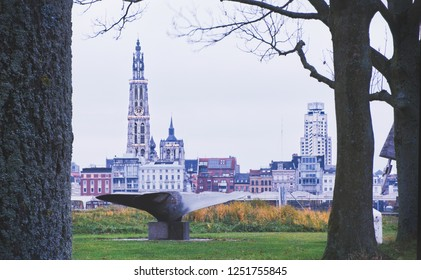 Original Antwerp view. This one is taken from the left bank through some trees. I gave this beautiful picture a mat look. See the cathedral and one of the first skyscrapers of the world, Boerentoren.
