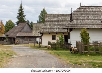 Original architecture in a Pribylina village