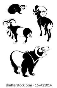 Original art animal silhouettes illustration