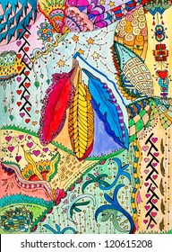 original art, native American abstract design with three feathers, pencil and marker