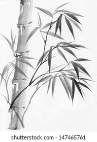 Original art, watercolor painting of bamboo, Asian style painting.