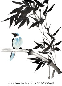 original art, watercolor painting of blue tropical bird perched on bamboo branch, looking left