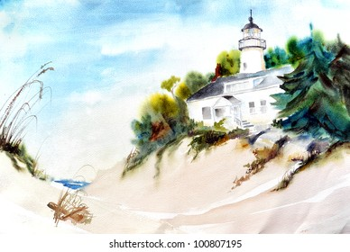 original art, watercolor painting of lighthouse by ocean