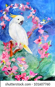 0124f92920999 original art, watercolor painting of tropical cockatoo bird and pink flowers