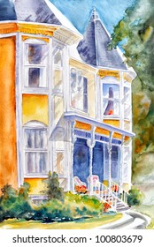 original art, watercolor painting of Victorian house