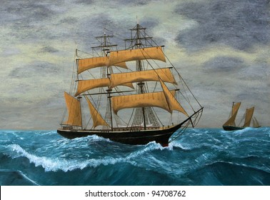 Original Artwork, Clipper Ships at Sea, oil painting on board