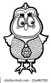 original artwork of owl, ink hand drawing in ethnic style, raster version in black end white colors