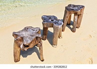Original  beach tables are made from trunk of tree, Maldives, The Indian Ocean