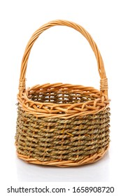 Original blank wicker basket isolated on white. Handmade.