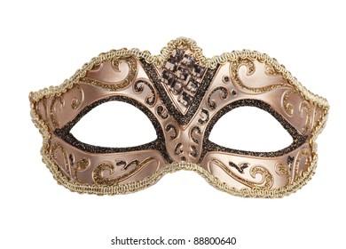 The original bronze festive carnival mask on white background