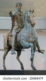 The original bronze statue of Emperor Marcus Aurelius, created in 176 AD, in the Rome Capitoline Museum.