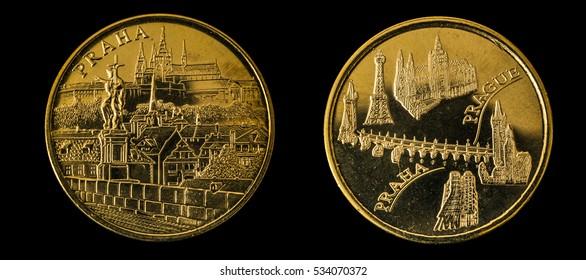 original commemorative golden coin of prague on black background - Shutterstock ID 534070372