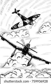 Original digital sketch. World War 2 vintage aircraft. British fighter and German dive bomber.