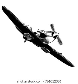 Original digital sketch. World War 2 vintage aircraft. British fighter plane.