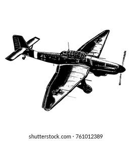 Original digital sketch. World War 2 vintage aircraft. German dive bomber plane.