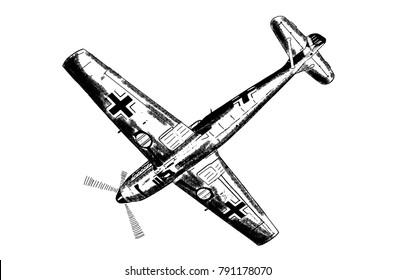 Original digital sketch. World War 2 vintage aircraft. German fighter plane.