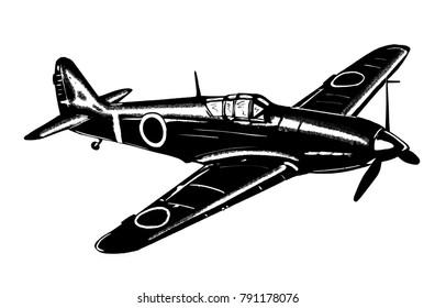 Original digital sketch. World War 2 vintage aircraft. Japanese fighter plane.