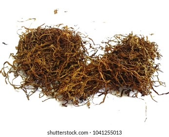 Original dried tobacco shredded leaves with isolated white background.