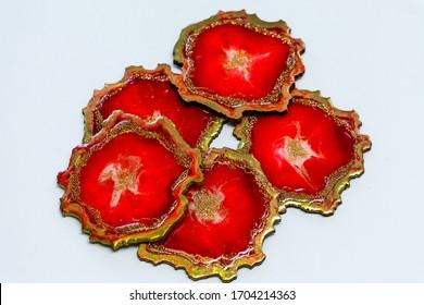 Original epoxy resin art in red