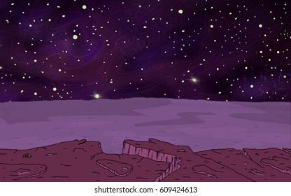 Original Exotic fantasy Alien Planet.  Environment landscape scene. Video Game, Digital CG Artwork, Concept Illustration. US Animated Cartoon Style Background