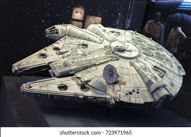 The original film used model of the Millennium Falcon on public display at the O2 in London, UK 01/09/17