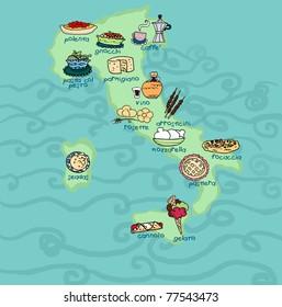 An original food map of Italy.Digital illustration