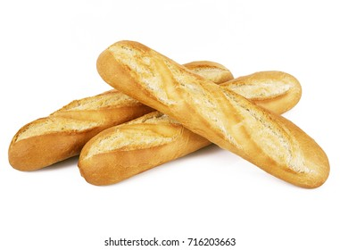 Original French Baguette On White Background