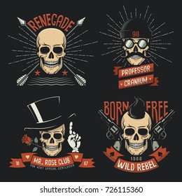 Original gangster or pirate retro logos with skulls, weapons, hats, ribbons.