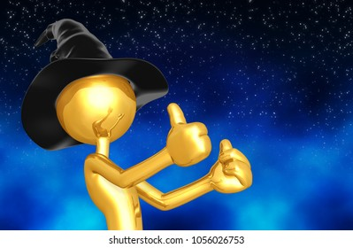 The Original golden Wizard 3D Character Illustration