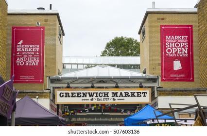 The Original Greenwich Market in London Greenwich - LONDON / ENGLAND - SEPTEMBER 23, 2016