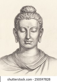 Original hand drawing, the face of Buddha on white.