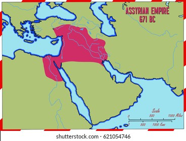 Original hand drawn map. The Assyrian Empire in 671 B.C. This was its largest size. It covered an area of what is today Syria, Iraq, Egypt, Lebanon, Israel, Iran and Turkey.