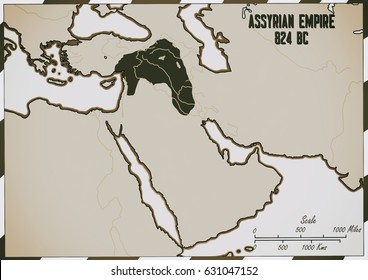 Original hand drawn map. The Assyrian Empire in 824 B.C.  It covered an area of what is today Syria, Iraq and Turkey.