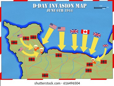 Original hand drawn map. D-Day Invasion of Normandy, France. Allies invaded German occupied Europe. 6th June 1944