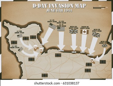 Original hand drawn map. D-Day Invasion of Normandy, France. Areas controlled by the allies by12th June 1944..