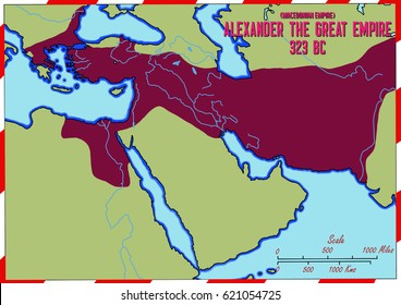 Original hand drawn map. The empire of Alexander The Great from Macedonia in 323 B.C. Alexander conquered the Persian Empire.