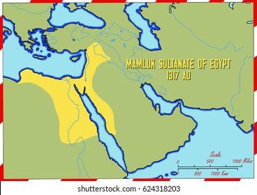 Original hand drawn map. Mamluk Sultanate of Egypt in 1317 AD